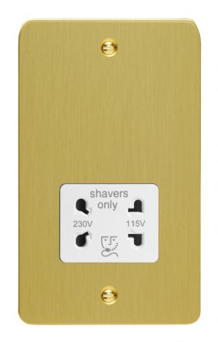Varilight XFBSSW Ultraflat Brushed Brass Dual Voltage Shaver Socket 240V/115V